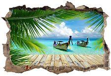 Stickers 3D Trompe l'oeil Barques caraibes  réf 23728 23728 Art déco Stickers