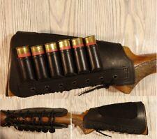 Leather Shotgun Shell Cartridge Buttstock Holder Cheek Rest Padded - 12 & 20 ga