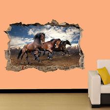 Caballos en salvaje épica Arte 3D Decoración Habitación aplastado Pared Adhesivo Calcomanía Mural De Oficina