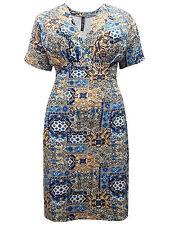 Blue Cream Abstract Print Jersey Dress V-Neck Size 16 18 20 22 24 26 28 30 32