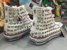 Converse All star Bianche personalizzate borchie Argento effetto sporco teschi