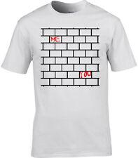 Pink Floyd Inspirado Camiseta Hombre Gilmour ROGERS THE WALL Letra Otro Ladrillo