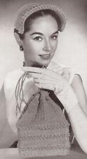 Vintage Crochet PATTERN Hat Drawstring Bag Purse 50s