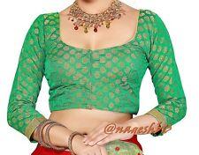 Readymade Saree Blouse, Banarasi Chanderi Silk Blouse, Green Readymade Blouse