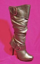 """Womens Boots Hidden Platform 5"""" heel Silver Scronch HOT"""