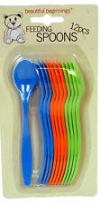 Beautiful Beginnings Set of 12 Baby Feeding Spoons Blue Green Orange Tableware