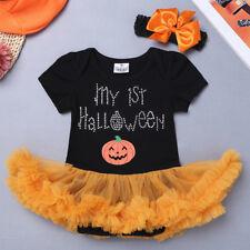 Infant Baby Girls Pumpkin Romper Bodysuit Jumpsuit Outfit Halloween Costume 3-18