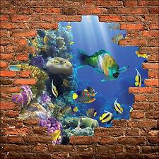 Sticker mural trompe l'oeil mur de pierre déco Poisson tropicaux  réf 890