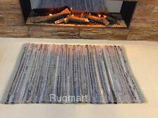 DENIM BLUE Handmade ECO Friendly Soft Cotton Reversibl Rag Rug XS 60x90cm 40%OFF