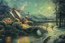 Christmas Moonlight --Thomas Kinkade Christmas Card with Message -- Not Postcard