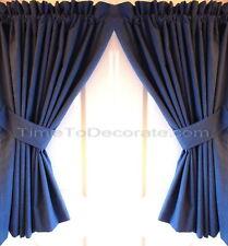 New CUSTOM curtain panels blue HORIZONTAL black stripes tiebacks BLACKOUT LINING