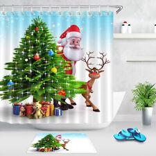 Christmas Tree Baubles Gifts Toys Santa Deer Shower Curtain Set Bathroom Decor