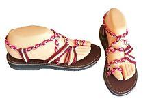 Confortables/mode SANDALES cordes marines bordeaux/fuchsia/crème