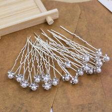 Flower Wedding Hair Pins Bridesmaid Crystal Diamante Pearls Bridal Clips Grips