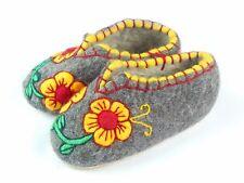 100% Sheepskin Wool Felt Handmade Winter Slippers Booties House Shoes Valenki <