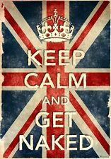 KCV6 Vintage Style Union Jack Keep Calm Get Naked Funny Poster Print A2/A3/A4