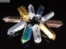 Natural Crystal Quartz Rock Gemstone Pointed Pendant Focal Charm Beads Healing