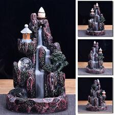 Ceramic Mountain Waterfall Smoke Backflow Incense Burner Censer Cones Holders