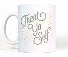 Treat Yo Self Ceramic Coffee Mug Parks and Recreation Shopping Quote Tea Cup
