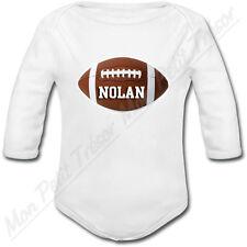 Body Bébé Ballon de Rugby FootBall Américain avec prénom ou texte personnalisé