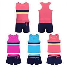2PCS Girls Tankini Swimsuit Swimwear Bathing Swimming Costume Tops+Bottoms Set