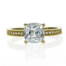 Women 7mm 14K Gold 1.25 ct Cushion Cut CZ Solitaire Wedding Engagement Ring