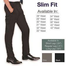 """Slim Fit Mens Smart Office Trousers Black Grey Navy Skinny Leg Pants 28""""-42"""""""