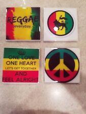 Reggae Themed 4x4 Ceramic Coasters Handmade
