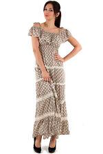 LADIES POLKA DOT MAXI DRESS LONG MOCHA BROWN SEXY RETRO DESIGN NEW UK 8-10-12