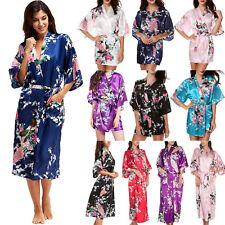 Women Peacock Satin Silk Kimono Night Dress Floral Bride Gown Bathrobe Sleepwear