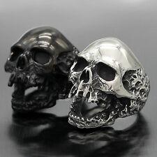 HUGE Stainless Steel Skull Men Ring Silver Black Size 8 9 10 11 12 13 14 15 16