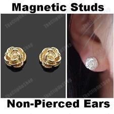 Clip magnetica su ROSE ORECCHINI FIORE GOLD / SILVER PLATED non-pierced BORCHIE