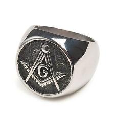 Free Mason Ring - Chiseled Face Freemasonry - Steel Silver Color Masonic Rings