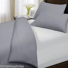 Luxury 300 Thread Satin Stripe Grey Duvet Sets 100% Egyptian Cotton All Sizes