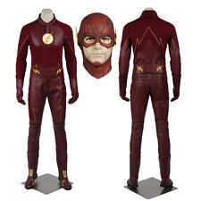The Flash Saison 2 Barry Allen Cosplay Costume Ensemble complet Super-héros Cuir