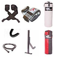 New 7 Pcs Boxing Set 2.5/4/5ft Filled Heavy Punch Bag Gloves,Chains,Bracket,Kick