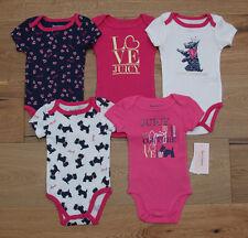 Juicy Couture Baby Girl 5 Piece Bodysuit Set ~ Dark Pink, White & Navy Blue ~