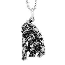 "Sterling Silver Silverback Gorilla Monkey Pendant / Charm, 18"" Italian Box Chain"