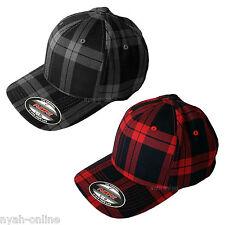 NEW *FITTED* CHECK CAP FLEXFIT PLAIN CHECKED BASEBALL PLAID FLEXIFIT PEAK HAT