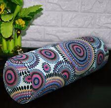 af256g Fuschia Grey FLower Cotton Canvas Yoga Bolster Cushion Cover Custom Size