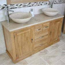 Oak Bathroom Vanity Cabinet Double Twin Sinks Bowl Basins Travertine 603ATT025T