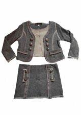 NWT Hannah Banana Tween Girls Grey Suit Jacket & Skirt Military Buttons sz 7