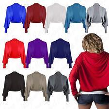 Women's Ladies Long Sleeve Plain Batwing Jersey Crop Boleoro Cardigan Top Shrug