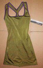 NWT Body Wrappers P622 tank satinfinish shorty unitard boycut leotard green/plum