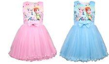 Girls Skater Dress Frozen Anna Elsa Print  Casual Party Birthday Dresses L3ZG9