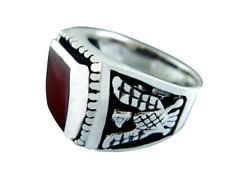 925 Sterling Silver Men's German Eagle Genuine Carnelian Thick Ring 12gr