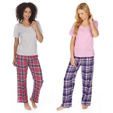 Ladies Womens Cotton Short Sleeve Jersey Top Flannel Pant Pyjamas Sets Nightwear