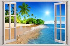 WANDAUFKLEBER FENSTER 3D Palmen Strand Sonne Wand Dekor Aufkleber Wandtattoo 38