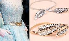 Reino Unido Elegante Damas Mujeres Pretina Elástica tramo de hoja de metal cintura cinturón cadena