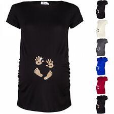 Happy Mama. Women's Pregnancy Maternity T-shirt Tee Shirt Baby Feet Hands. 013p